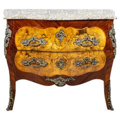 Inlaid French Commode from the 18th-19th Century with Marble Top