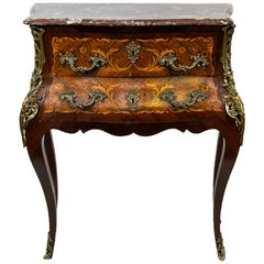 Inlaid French Marble-Top Console Table