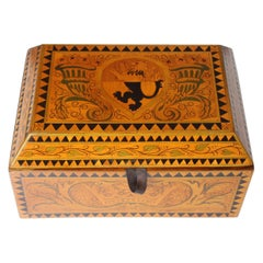 Inlaid Jewelry or Cigar Wooden Box, Marquetry, Germany, circa 1900