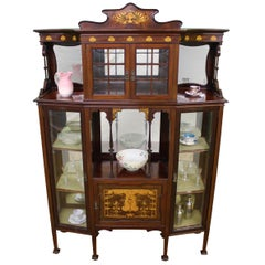 Inlaid Mahogany Art Nouveau Display Cabinet