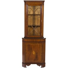 Inlaid Mahogany Narrow Corner Cabinet Cupboard