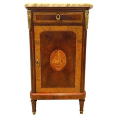 Inlaid Marquetry Burl Walnut Side Cabinet, Ormolu Mounts and Marble Top ca. 1880