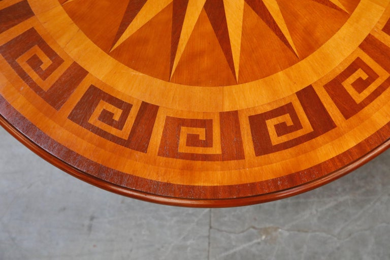 Inlaid Marquetry Dining Table on Chrome Base with Greek Key and Nautical Motifs For Sale 2