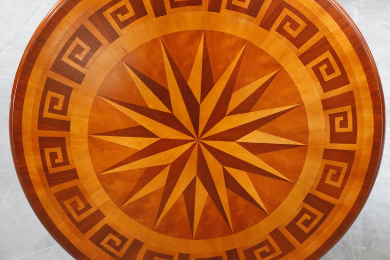 Inlaid Marquetry Dining Table on Chrome Base with Greek Key and Nautical Motifs For Sale 3
