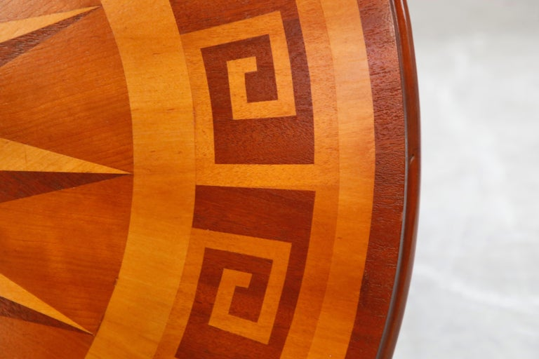 Inlaid Marquetry Dining Table on Chrome Base with Greek Key and Nautical Motifs For Sale 4