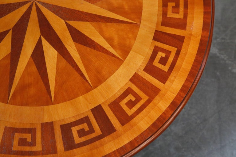 Inlaid Marquetry Dining Table on Chrome Base with Greek Key and Nautical Motifs For Sale 6