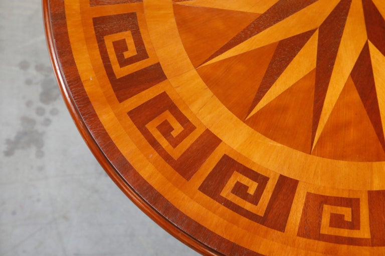 Inlaid Marquetry Dining Table on Chrome Base with Greek Key and Nautical Motifs For Sale 7