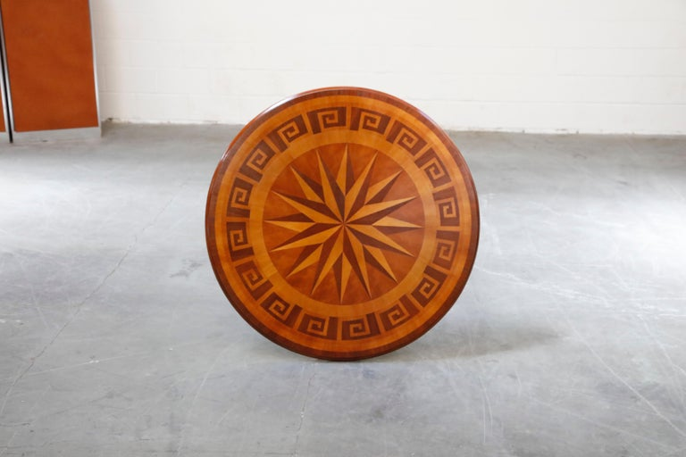 Inlaid Marquetry Dining Table on Chrome Base with Greek Key and Nautical Motifs For Sale 8