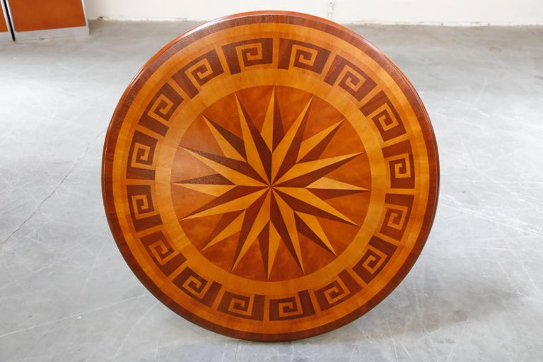 Inlaid Marquetry Dining Table on Chrome Base with Greek Key and Nautical Motifs For Sale 9