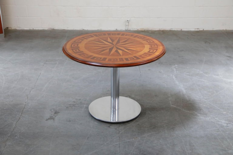 American Classical Inlaid Marquetry Dining Table on Chrome Base with Greek Key and Nautical Motifs For Sale