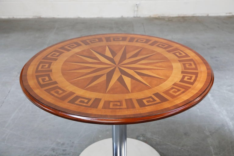 Inlaid Marquetry Dining Table on Chrome Base with Greek Key and Nautical Motifs In Good Condition For Sale In Los Angeles, CA