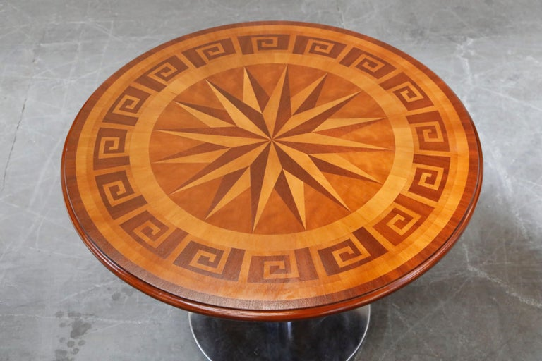20th Century Inlaid Marquetry Dining Table on Chrome Base with Greek Key and Nautical Motifs For Sale