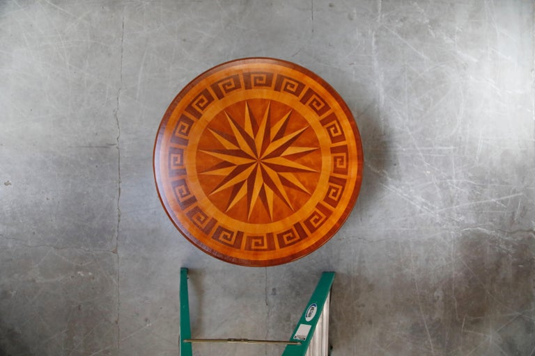 Wood Inlaid Marquetry Dining Table on Chrome Base with Greek Key and Nautical Motifs For Sale