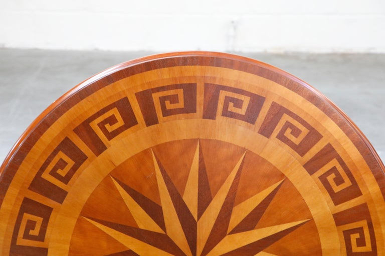 Inlaid Marquetry Dining Table on Chrome Base with Greek Key and Nautical Motifs For Sale 1