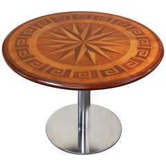 Inlaid Marquetry Dining Table on Chrome Base with Greek Key and Nautical Motifs
