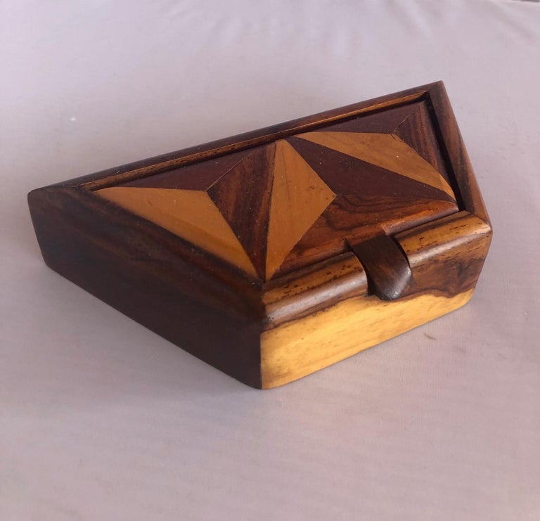 Organic Modern Inlaid Mixed Woods Trinket Box For Sale