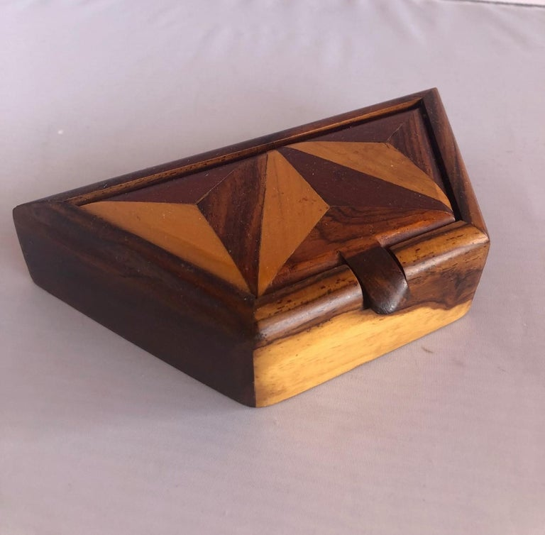 American Inlaid Mixed Woods Trinket Box For Sale