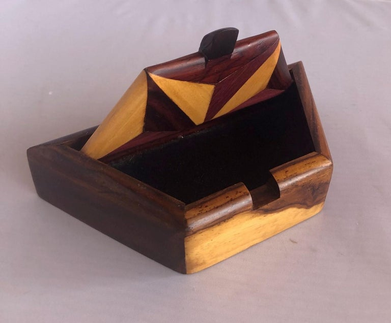 Inlaid Mixed Woods Trinket Box In Good Condition For Sale In San Diego, CA