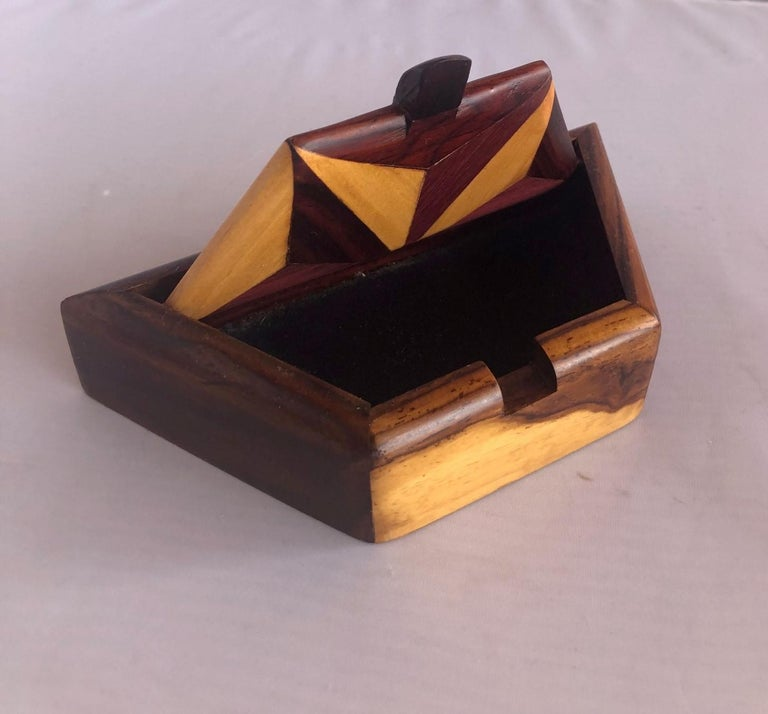 20th Century Inlaid Mixed Woods Trinket Box For Sale