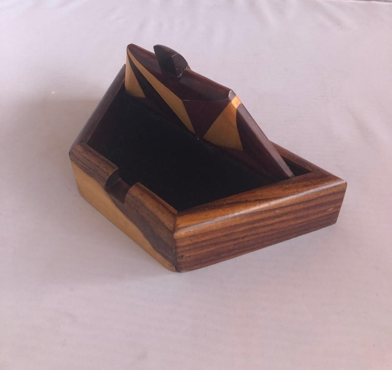 Mahogany Inlaid Mixed Woods Trinket Box For Sale