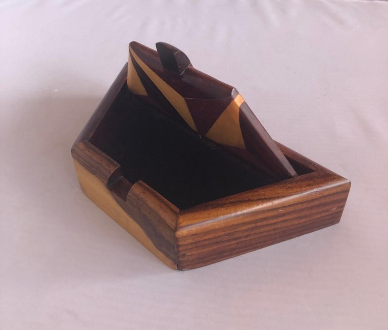 Inlaid Mixed Woods Trinket Box For Sale 1