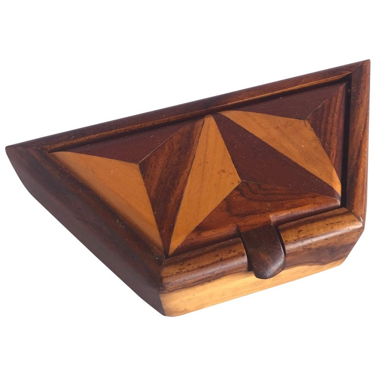 Inlaid Mixed Woods Trinket Box For Sale