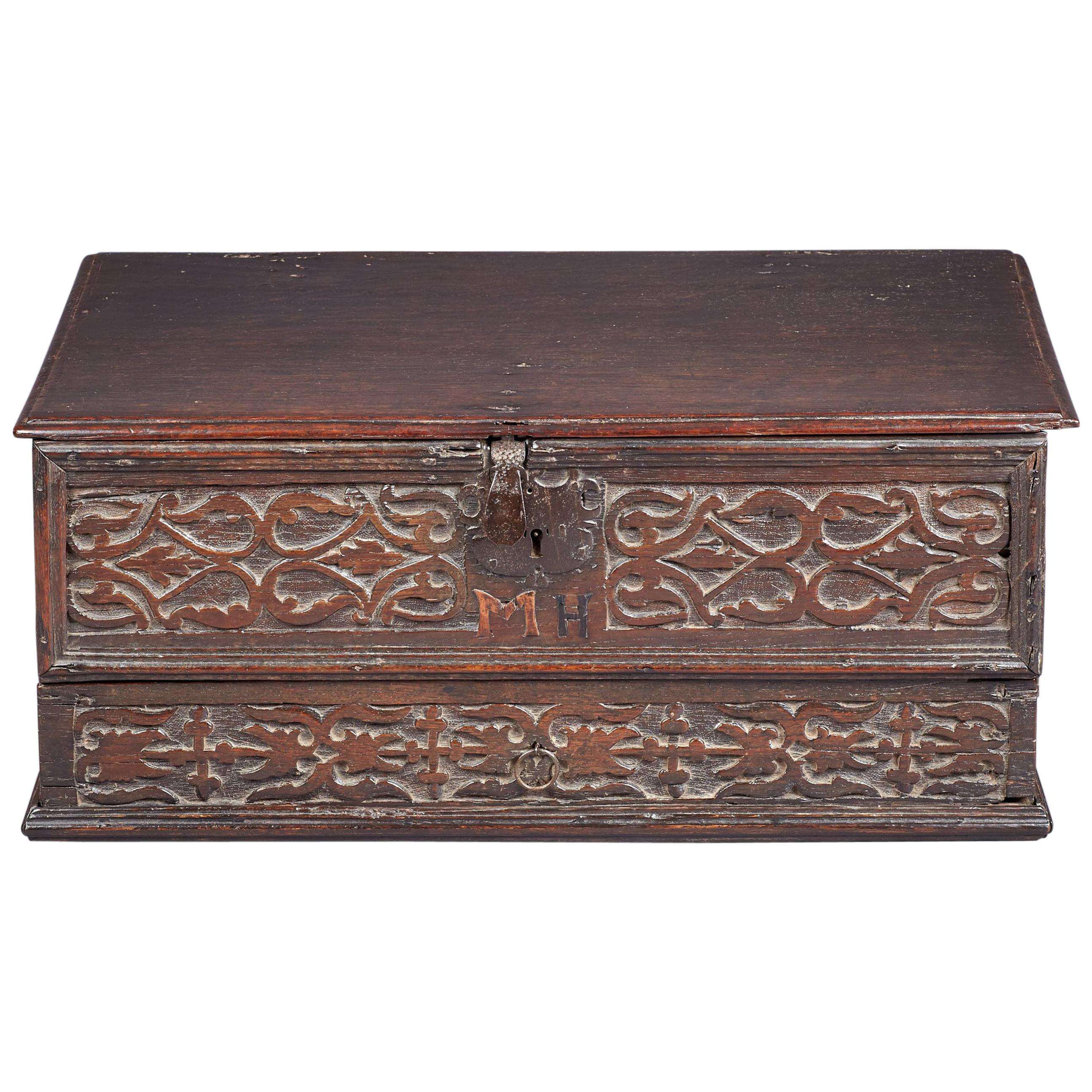 Inlaid Oak Desk Box, Charles II period, Yorkshire, circa 1660-1680