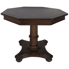 Inlaid Octagonal Table with Star Design, 20th Century