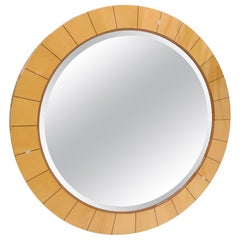 Inlaid Round Frame Beveled Wall Mirror Mother of Perl Accents