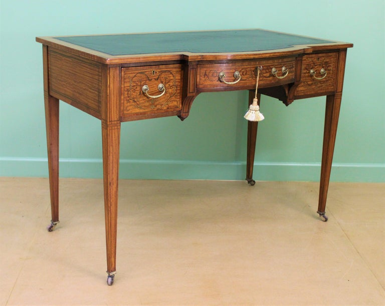 Inlaid Satinwood Writing Table by Maple and Co. For Sale 6