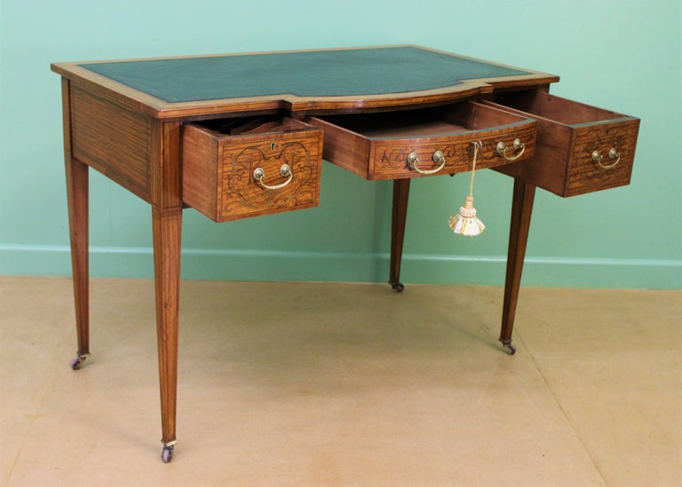 Inlaid Satinwood Writing Table by Maple and Co. For Sale 7