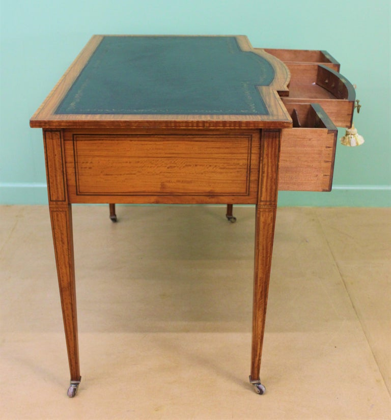 Inlaid Satinwood Writing Table by Maple and Co. For Sale 8