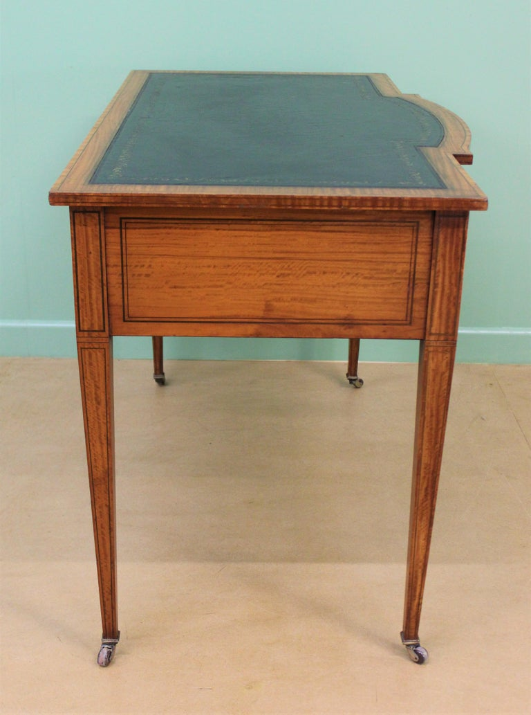 Inlaid Satinwood Writing Table by Maple and Co. For Sale 9