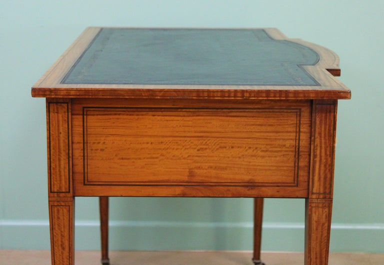 Inlaid Satinwood Writing Table by Maple and Co. For Sale 10