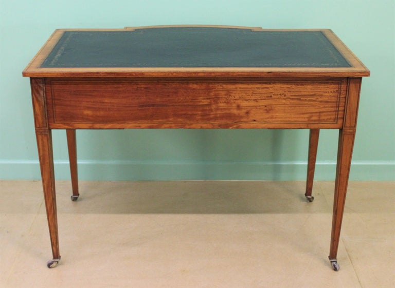 Inlaid Satinwood Writing Table by Maple and Co. For Sale 12