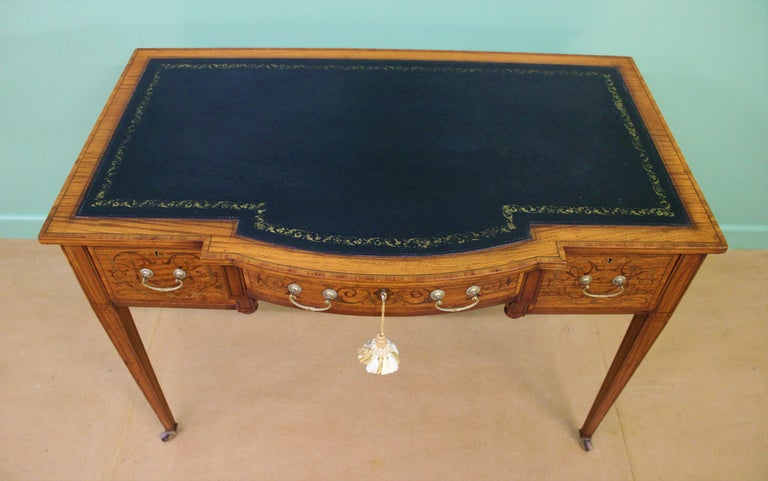 Inlaid Satinwood Writing Table by Maple and Co. In Good Condition For Sale In Poling, West Sussex