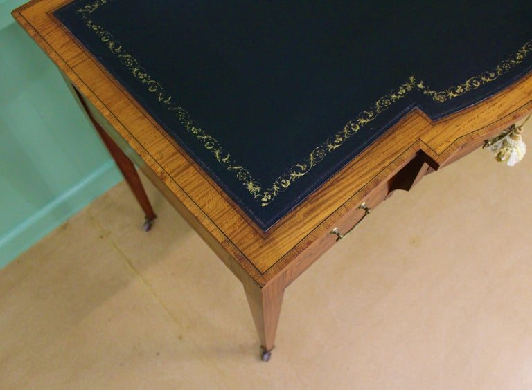 19th Century Inlaid Satinwood Writing Table by Maple and Co. For Sale