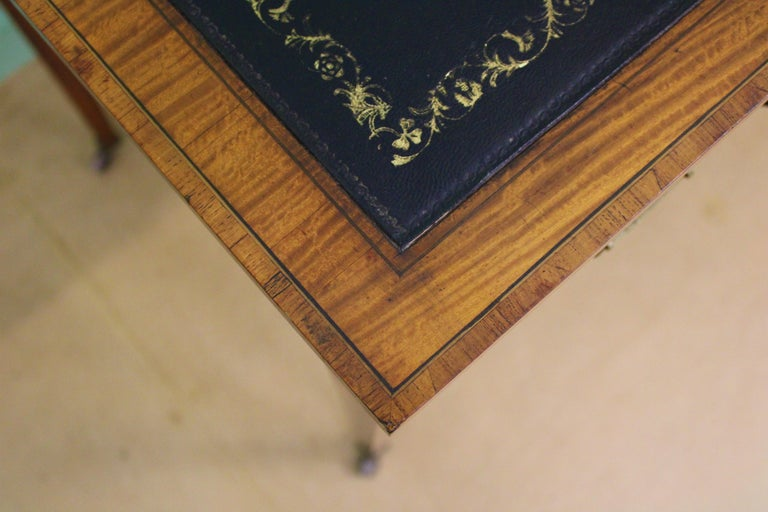 Inlaid Satinwood Writing Table by Maple and Co. For Sale 1
