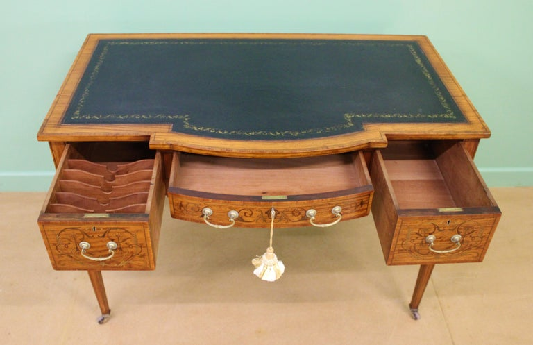 Inlaid Satinwood Writing Table by Maple and Co. For Sale 2