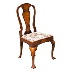 Inlaid Seaweed Marquetry Queen Anne Side Chair