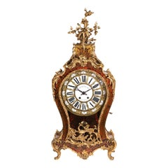 Inlaid Tortoise Shell, Veneered Mantel Clock Signed Balthazar à Paris