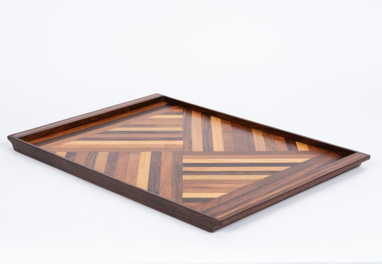 Mid-Century Modern Inlaid Tray with Diamond Pattern by Don Shoemaker for Senal For Sale