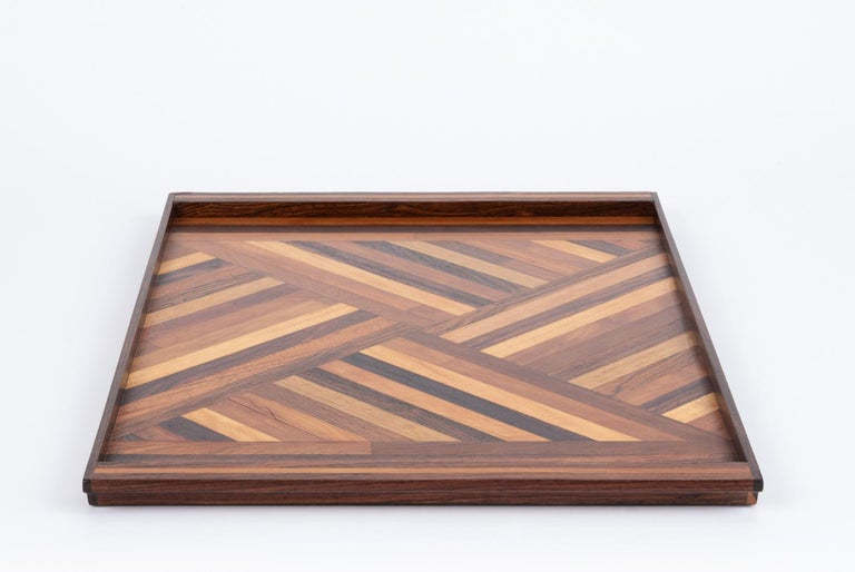 Mexican Inlaid Tray with Diamond Pattern by Don Shoemaker for Senal For Sale