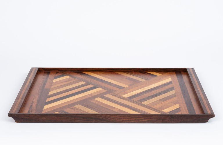 Inlaid Tray with Diamond Pattern by Don Shoemaker for Senal In Excellent Condition For Sale In Los Angeles, CA