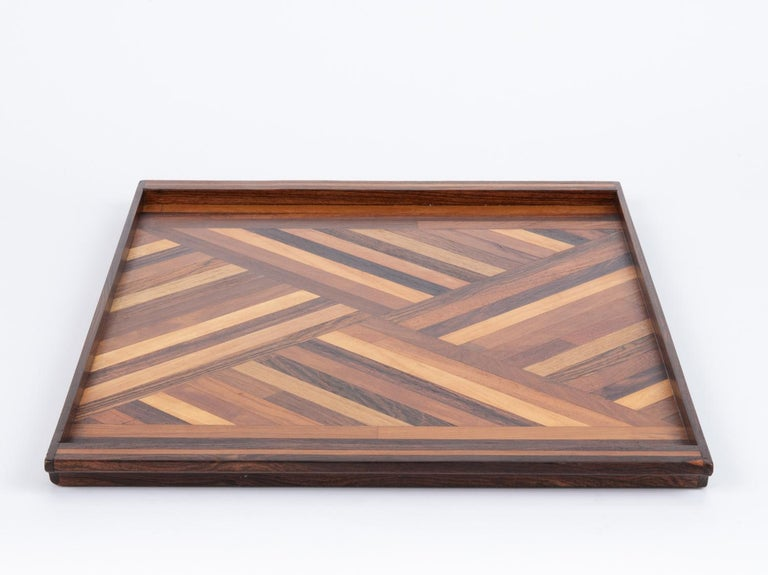 20th Century Inlaid Tray with Diamond Pattern by Don Shoemaker for Senal For Sale