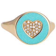 Inlaid Turquoise Diamond Heart Signet Ring 14 Karat Yellow Gold Pinky Round Band