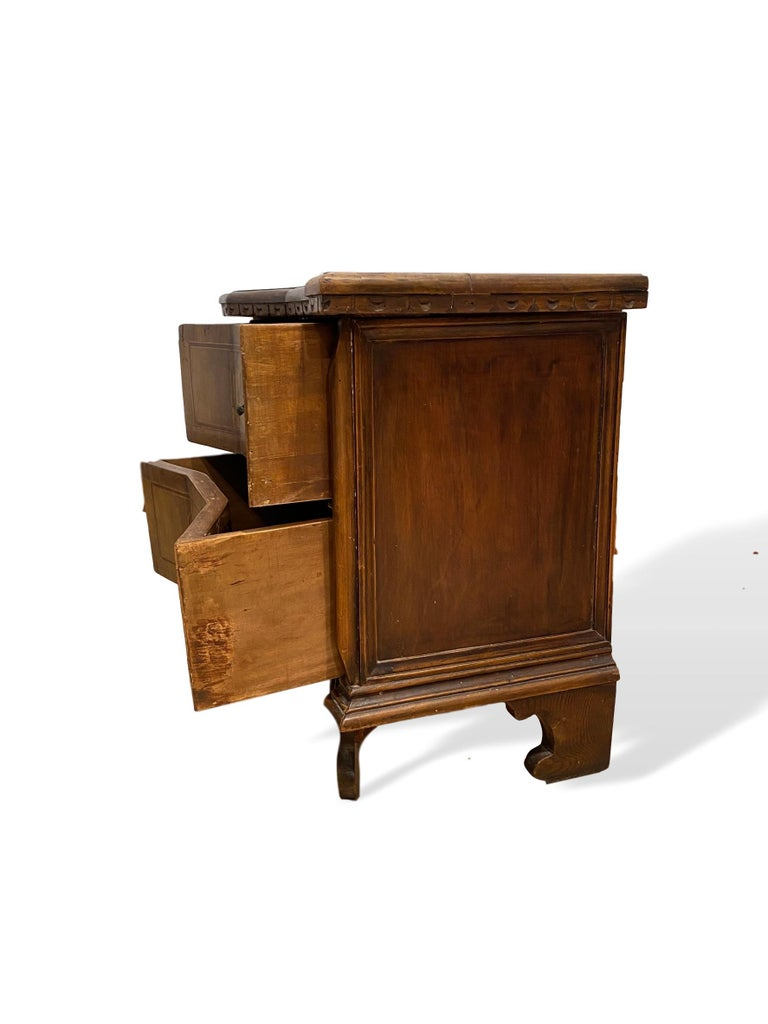 Baroque Inlaid Walnut Two-Drawer Side Commode with Concave Block Front, Italian For Sale