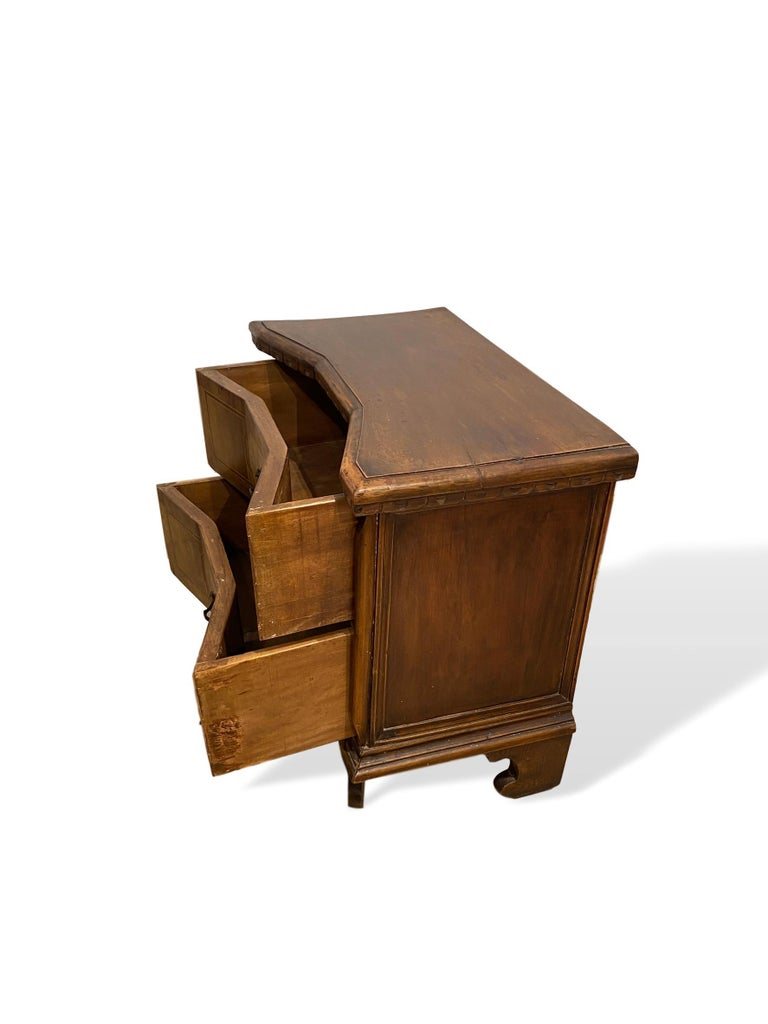 Inlay Inlaid Walnut Two-Drawer Side Commode with Concave Block Front, Italian For Sale