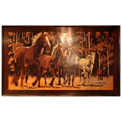 Inlaid Wood Portrait of Horses, 1980s