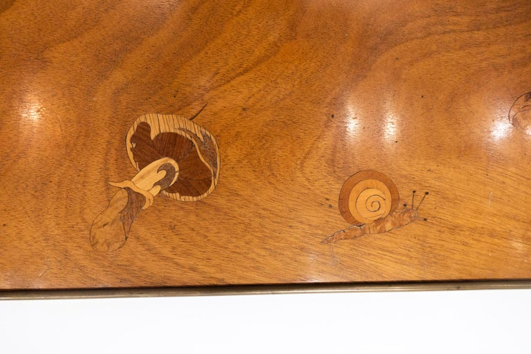 Art Nouveau Inlaid Wooden Panel with Mushrooms and a Butterfly, Signed Christian Dior, Paris For Sale